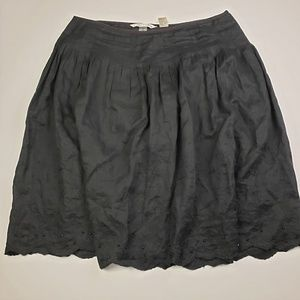 PETER NYGARD Black Linen Embroidered Skirt Size 16